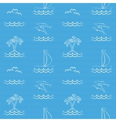 Blue seamless pattern with sailboat vector image