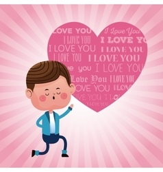 Boy on knee with pink heart i love you pink vector