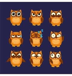 Brown owl emoji collection vector