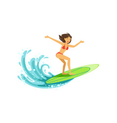 cheerful female surfer riding a big wave water vector image