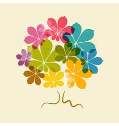 Chestnut Abstract Colorful Tree on Old Paper vector image vector image