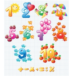 Colorful numbers for children vector image vector image
