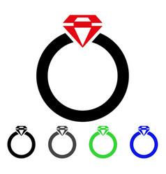 diamond ring flat icon vector image vector image