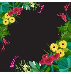 Flat floral frame home plants frame vector