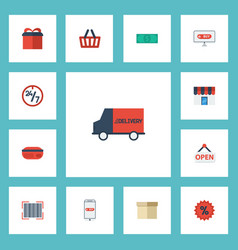 Flat icons qr shop shopping and other vector
