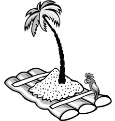floating raft with a palm tree vector image vector image