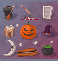Halloween party cartoon icons set vector