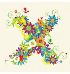 letter X floral design vector image vector image