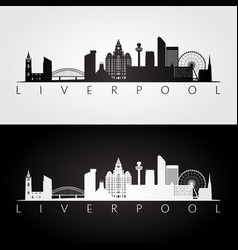 liverpool skyline and landmarks silhouette vector image vector image