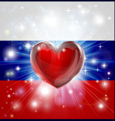 Love russia flag heart background vector