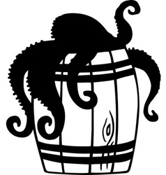 Octopus in barrel vector image vector image