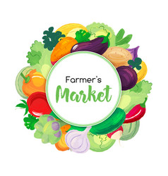 round banner for menu with vegetables vector image vector image