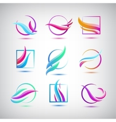 set of colorful wave logos Abstract web vector image vector image