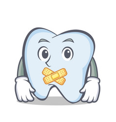 Silent tooth character cartoon style vector