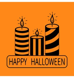Striped candle set happy halloween text greeting vector