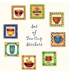 Tea cup stickers isolated on white background for vector image