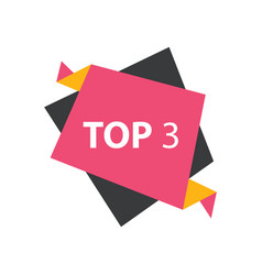 Top3 text in label pink yellow black vector