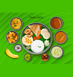 Traditional cuisine and food meal thali of tamil vector