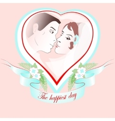 Wedding portrait of a couple in heart vector