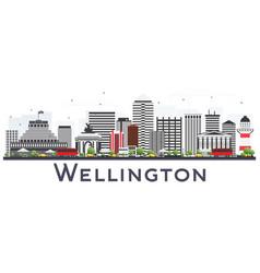 wellington new zealand city skyline with gray vector image