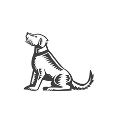 Welsh Terrier Sitting Woodcut vector image