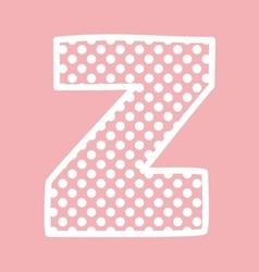 Z alphabet letter with white polka dots on pink vector image