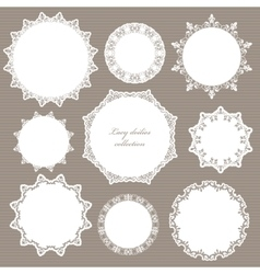 Round lacy doilies set Decorative frames vector image