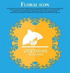 Vegetarian restaurant icon floral flat design on a vector