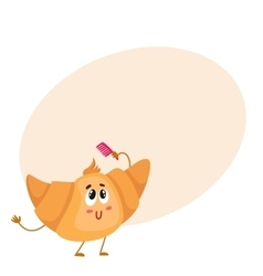 Cute and funny croissant character combing its vector