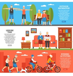 Old people activities banners vector