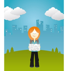 Girl holding a map vector