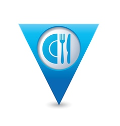 Restaurant icon map pointer blue vector