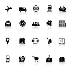 Logistic icons with reflect on white background vector