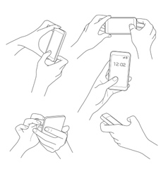 Hand holding smartphone sketch vector