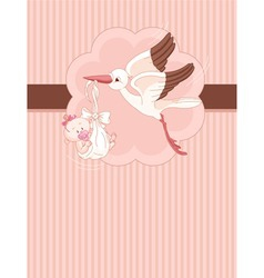 a place card of a stork delivering a newborn baby vector image