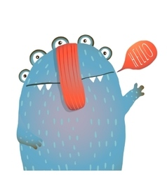 Kind and cute funny monster saying hello waving vector