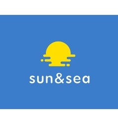 Sun sea travel logo universal modern vector