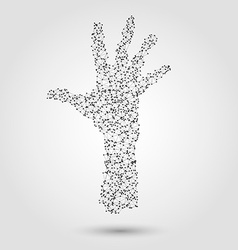 Abstract human hand from dots and lines vector
