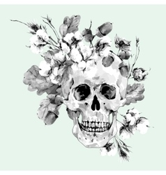 Skull and twigs cotton flower yellow oak leaves vector