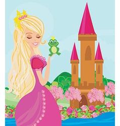 Beautiful young princess holding a big frog vector