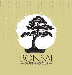 Bonsai gardening club creative design vector