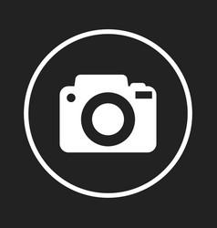 Camera icon logo on black background flat vector