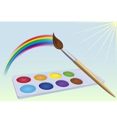 Colour-box rainbow brush and sun vector