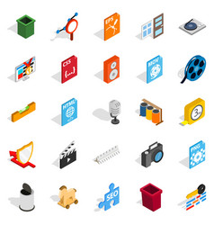 Computer expansion icons set isometric style vector