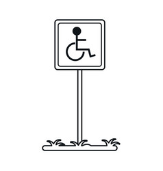 Disabled person wheelchair sign road linear vector