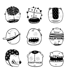 Doodle outline cartoon funny monster faces with vector