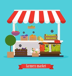 Farmers market local market fruit and vegetables vector