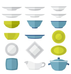 Flat design dinnerware set vector