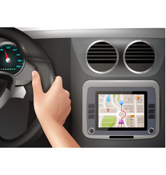 gps navigation in car vector image
