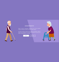 Grandparents web banner with grandpa and grandma vector
